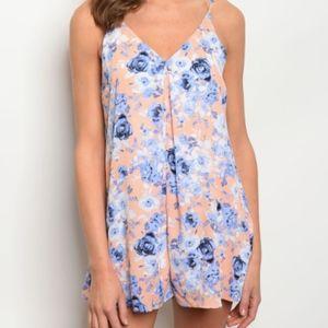 Pants - Peach and Blue Floral Romper